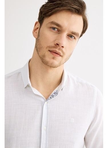Avva Erkek  Armürlü Alttan Britli Gömlek A01Y2048 Beyaz